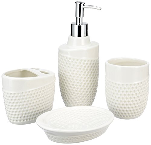 Miamour MMCBSWD0010024 Ceramic Bathroom Accessory, Set of 4 (White)