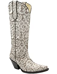 Corral Womens Bone Tall Lace Embroidery Boot G1128