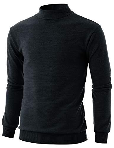 - GIVON Mens Slim Fit Long Sleeve Mock Neck Ribbed Hem Pullover Sweater/DCP224-BLACK-M