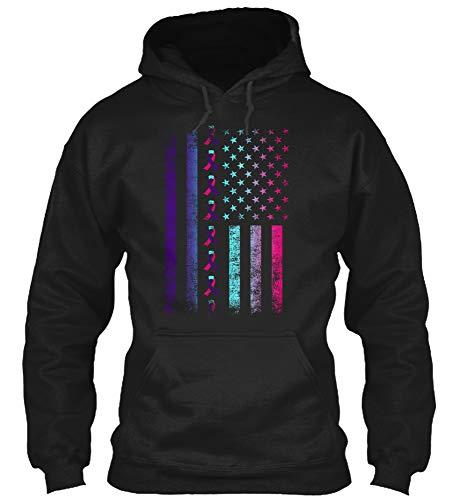 Pink Ribbon Hooded T-shirt - American Flag Teal-Pink-Blue Ribbon T-Shirt Thyroid Cancer Awareness Survivor Warrior Gift Tee (Gildan 8oz Heavy Blend Hoodie;Black;2XL)