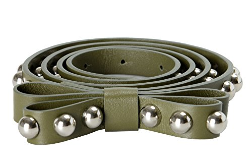 Red Valentino Leather Green Metal Beads Embellished Women's Belt Size: L;