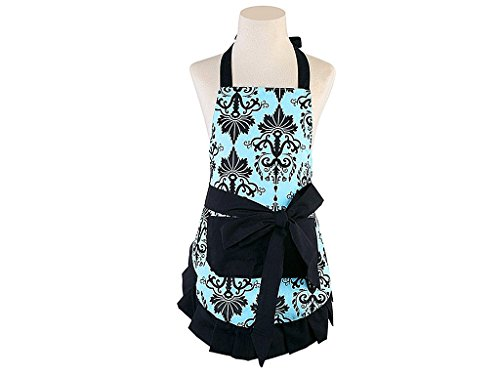 MGparty Women's Printed Damask Chef Kitchen Apron with Pockets, Vintage Bowknot Apron for Cooking, Baking and Gardening (Aqua Damask)