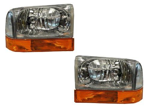 Ford SuperDuty Trucks Euro Chrome 4-Piece Headlights Set w/Stock Corner (1 Piece Euro Headlights)