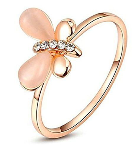 American Dragon Rose (Alimab Jewelry Gold Plated Womens Promise Rings Dragonfly d Cubic Zirconia Size 8 Rose Gold)