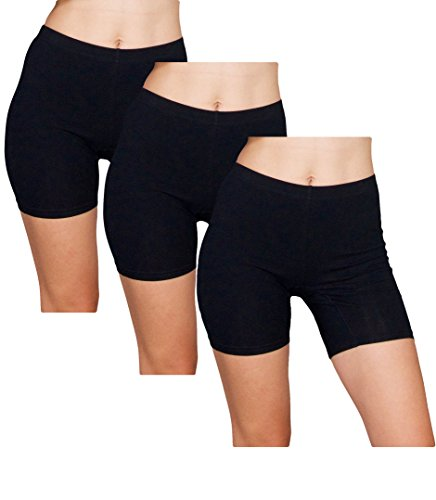 Emprella Slip Shorts  3-Pack Black Bike Shorts  Cotton Spandex Stretch Boyshorts For Yoga,Black,Large