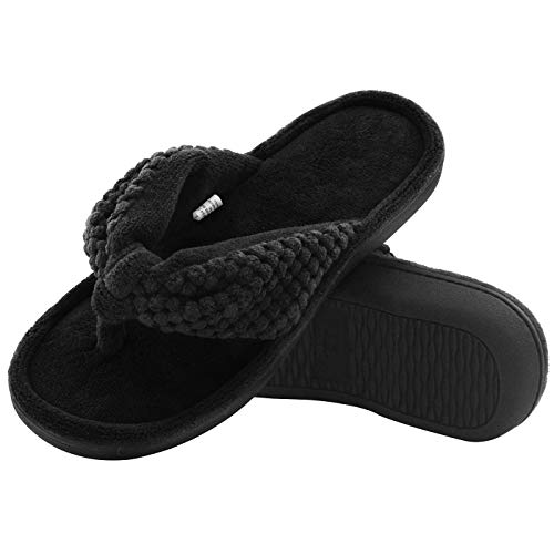 - Women's Cozy Memory Foam Plush Gridding Velvet Lining Spa Thong Flip Flops Clog Style House Indoor Slippers (Medium / 7-8 B(M) US, Black)