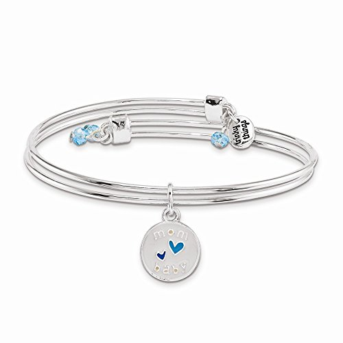 Trinky ThingsTM Silver-Tone Blue Double Hearts Congrats Blue Stork Bangle Bracelet with Crystals ()