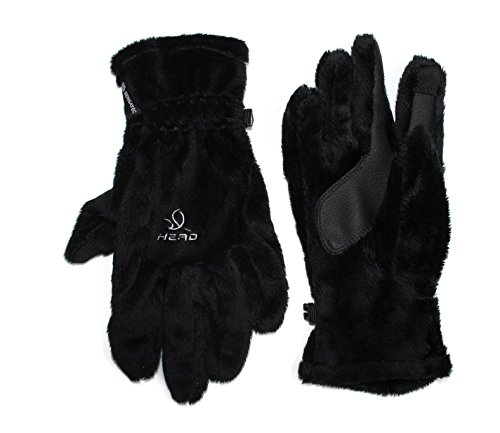 HEAD Ladies Thermal Fur Winter Gloves w/ Touch Screen Finger (Medium, Black)