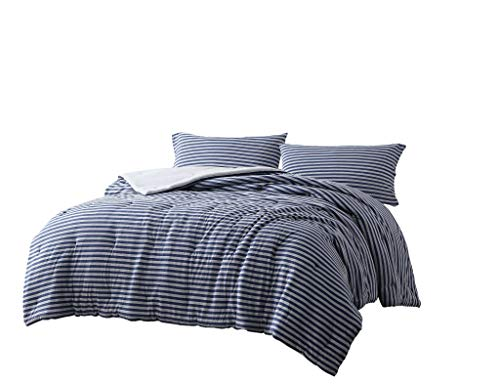 """Chezmoi Collection Levi 3-Piece Striped Heather Jersey Knit Cotton Comforter Set - Solid Reversible Lightweight Super Soft and Breathable Bedding Set (Queen, Navy/Gray) - Levi 3-Piece Jersey Knit Bedding Comforter Set Includes: 1 Comforter, 2 Pillowcases Measurements: Comforter 90"""" x 92"""", Pillowcases 20"""" x 30"""" An exceptionally soft jersey knit hypoallergenic comforter, reminiscing your favorite T-shirt to ensure a blissful night's rest. Featuring a classic striped pattern with an reversible solid color option. - comforter-sets, bedroom-sheets-comforters, bedroom - 41hnE2cUoZL -"""