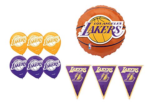 LA Lakers Basketball Party Supplies and Decoration Bundle: 6-12 Inch Latex Balloons, One 18 Inch Foil Balloon and One 12 Foot Banner ()