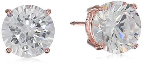 (Amazon Essentials Rose Gold Plated Sterling Silver Round Cut Cubic Zirconia Stud Earrings (8.5mm))