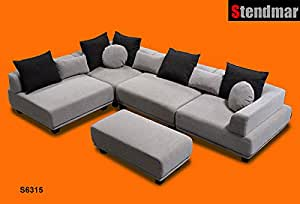 5pc Modern 10 Functions Setup Fabric Sectional Sofa S6315G