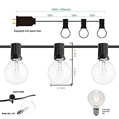 Goothy Globe Holiday String Lights with G40 Bulbs (50ft.) Backyard Patio Lights Garden Bistro Party Natural Warm Bulbs Cafe Hanging Umbrella Lights on Light String Indoor Outdoor