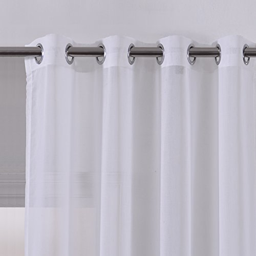 Faux Linen Sheer Curtains Voile Grommet Semi Sheer Curtains for Bedroom Living Room Set of 2 Curtain Panels 54 x 84 inch Grey Gradient