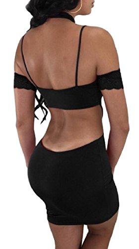 Jaycargogo Coupe Sexy Des Femmes Hors Club Moulante À Manches Courtes Mini-robe Noire
