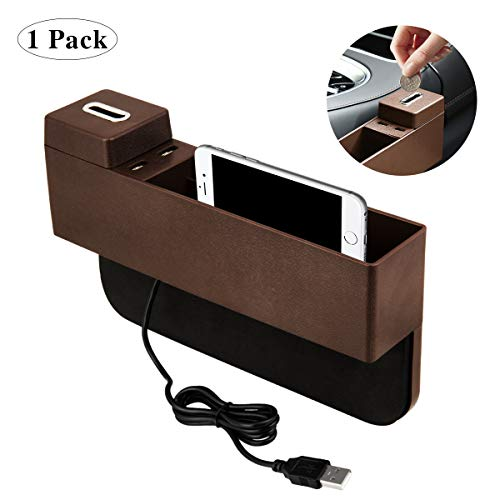 AUTMOR Manfiter Car Seat Gap Filler with Coin Box and 2 USB Charging Hub,Car Pocket Organizer,Car Interior Accessories,Brown