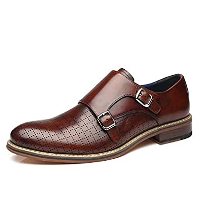 La Milano Men's Double Monk Strap Slip On Loafer Leather Oxford Plain Toe Classic Casual Comfortable Dress Shoes for Men Brown Size: 7
