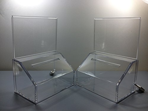 T'z Tagz Brand Small Donation Charity Ballot Box with Lock and Sign Holder 2 - Product Donations