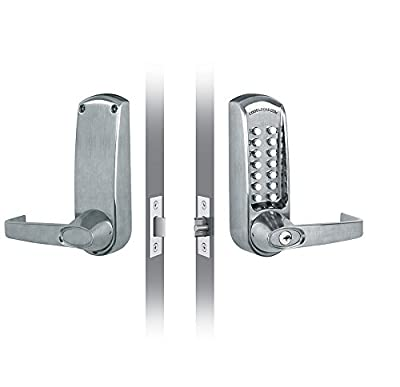 """CODELOCKS CL610 CL610 Mechanical Lever Set with Front Change Code, 6 Pin Cylinder, 2 3/4"""" UL Fire Rated Latch Bolt"""