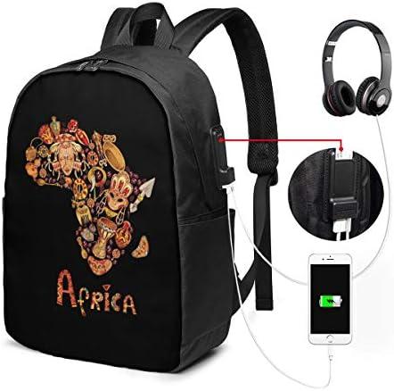 ビジネスリュック アフリカの地図 メンズバックパック 手提げ リュック バックパックリュック 通勤 出張 大容量 イヤホンポート USB充電ポート付き 防水 PC収納 通勤 出張 旅行 通学 男女兼用