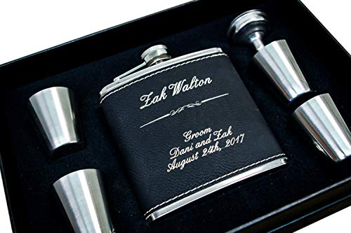 (Custom Engraved Hip Flask Set, Personalized Black Leather Flasks Box Set- Groomsmen Gift- Groomsman Whiskey Gifts For Men, Rustic Customized Gold Vegan Leather Wrapped #304 Steel 6 oz - 6pc Set)