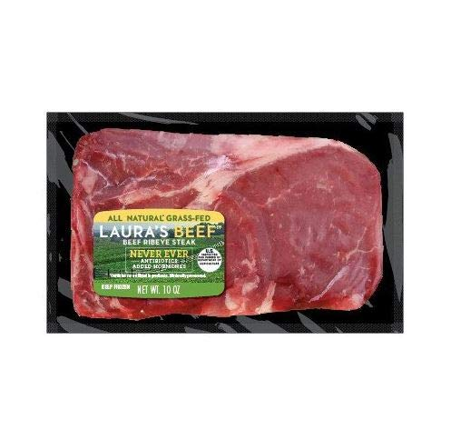 Laura's Lean Grass Fed Natural Ribeye Steaks 10oz - 4 per case, no added hormones or antibiotics ever, humanely handled, frozen, bulk pack by Laura's Lean Beef (Image #3)