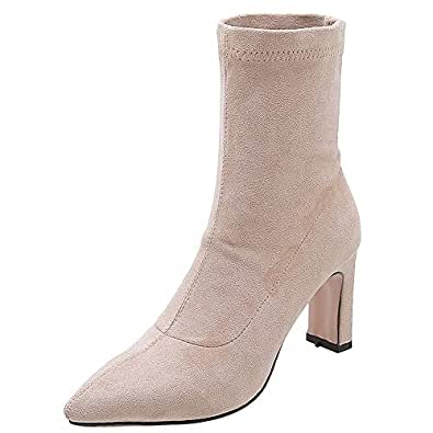 MisaKinsa Women Fashion High Heels Ankle Boots Pointed Toe Autumn Booties Stretch Low Top Boots Pull On Apricot-PU Size 33 Asian