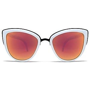 Quay My Girl Sunglasses Cat Eye Frame Kitty Metallic Aviator (White)