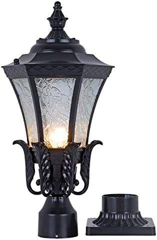 GYDZ Vintage Outdoor Post Mount Light,21 H Pier Mount Post Light Outdoor for Villa Or Garden Backyard, Victorian Light Fixture in Oil-Rubbed Black with Water Ripple Glass
