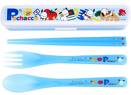"""7.3"""" Pochacco ABS-resin BPA FREE Cutlery Set Fork Spoon Chopsticks with Case"""