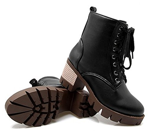 IDIFU Women's Comfy Mid Chunky Heels Lace Up Side Zipper Lug Sole Martin Ankle Boots