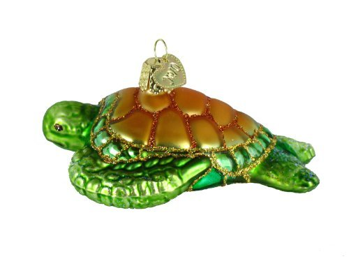 Old World Christmas Ornaments: Green Sea Turtle Glass Blown Ornaments for Christmas Tree