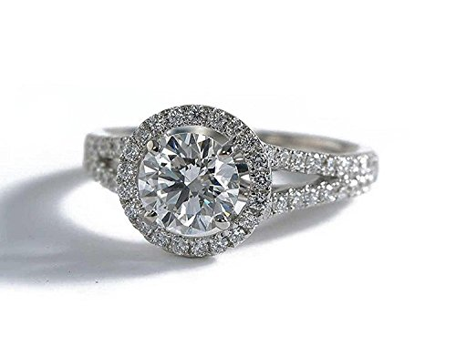 14k White Gold Round Halo Vintage Simulated Diamond Engagement Ring (2 Carat, D Color, VVS1 Clarity) (10K-White gold, 8.5) - Vvs1 Clarity