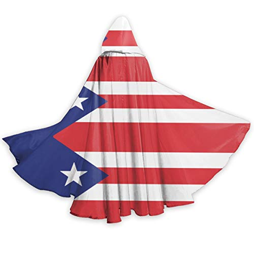 Costume Puerto Rico (Flag Puerto Rico Hooded Cloak Unisex Durable Laced Party Costumes for Halloween Christmas Cosplay)