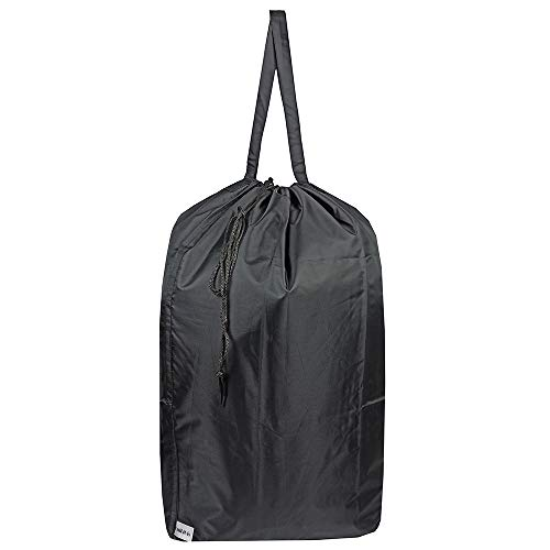 UniLiGis Tear Proof Nylon Laundry Bag with Handles,Travel Laundry Bag with Drawstring Closure,Dirty Clothes Bag Fit Most Laundry Hamper or Basket,27.5x34.5 in,Black