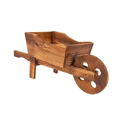 Yardwe Garden Plant Planter Wooden Wagon Planter Wheelbarrow Decoration for Indoor Outdoor (45x19x20cm