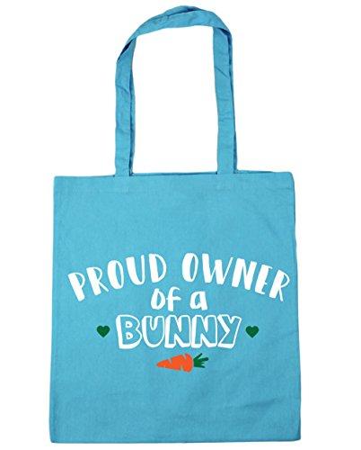 HippoWarehouse orgulloso propietario de un conejo bolsa de la compra bolsa de playa 42cm x38cm, 10litros azul (Surf Blue)