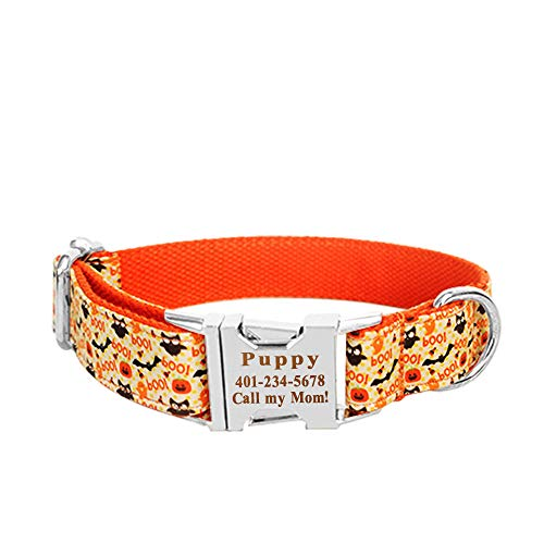 Smartyou Personalized Dog Collar, Engraved Metal Buckle Collar