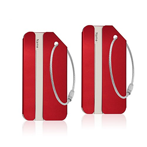 Aluminum Luggage Tag for Luggage Baggage Travel Identifier By CPACC (Red 2PCS)