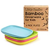 Go Fresh Bamboo Kids Plates 4 Pack, Bamboo Dinnerware, Eco-Friendly Kids dinnerware Set, BPA Free (Multiple Colors), Kids Bamboo Plates for Healthy Feeding