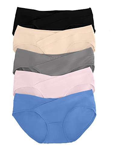 Kindred Bravely Under The Bump Maternity Underwear/Pregnancy Panties - Bikini (Large Assorted, 5 Pack)