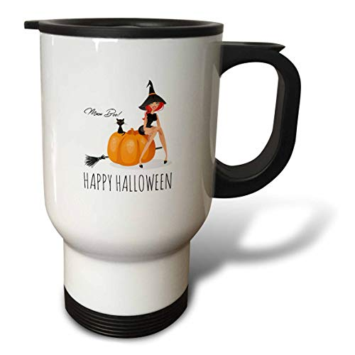 9f99038d21fc 3dRose Alexis Design - Holidays Halloween - Pretty witch sits on a pumpkin.  Black cat. Happy Halloween, meow, boo - 14oz Stainless Steel Travel Mug ...