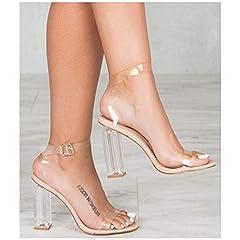 Cape Robbin Maria-2 Women's Lucite Clear Strappy Block Chunky High Heel Open Peep Toe Sandal