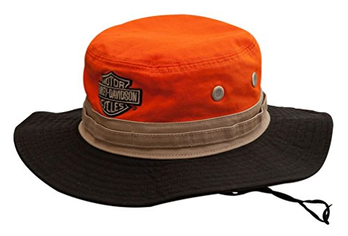Harley-Davidson Men's Colorblocked Embroidered Boonie Cotton Twill Hat HD-476 Orange ()