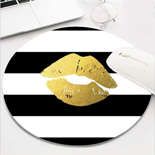 Computer Gaming Mouse Pad Waterproof Non-Slip Rubber Material Round Mouse Mat for Office and Home -Black White Stripes with Fashion Gold Lips 8 Inch