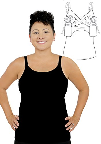 New Full Coverage Pump&Nurse all-in-one Nursing Tank with built in hands-free pumping bra - Black, XL