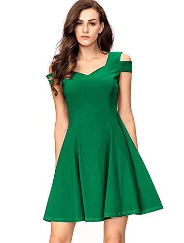 InsNova Women's Green Cold Shoulder Pleated Little Cocktail Party Dress for Teens ()