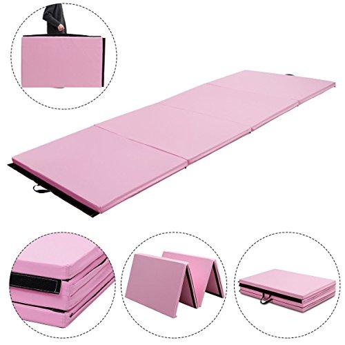 Exercise Mat 4'x10'x2 Gymnastics Pink Thick Folding Panel Aerobics Gym Fitness with Ebook