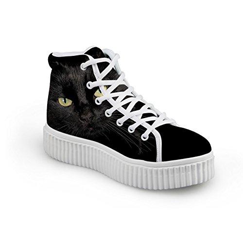 Bigcardesigns Kat Ontwerp Casual Platte Schoenen Zwarte Kat