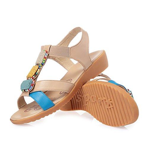 KPHY Edad Estudiantes De En Zapatos Plano Fondo De Embarazada blue Tacon Las Plano Sandalias Verano Suave Mediana Fondo RaRxvrqw41